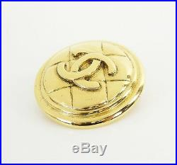 Auth Vintage CHANEL Goldtone Round Quilted CC Logo Brooch Pin with Box #29830