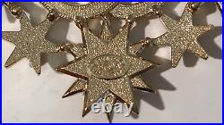 Authentic'15 CHANEL Salzburg Collection Gold & Pearl CC Logo Stars Brooch Pin