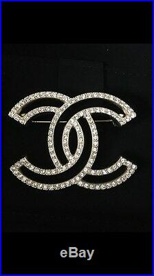 Authentic Bnib Chanel 2015 Gold Crystal CC Logo Pin Brooch