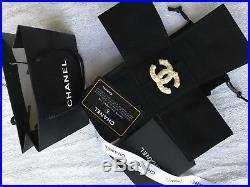 Authentic CHANEL Brooch Anniversary CC Logo Crystal with pearls 18K Gold Pin