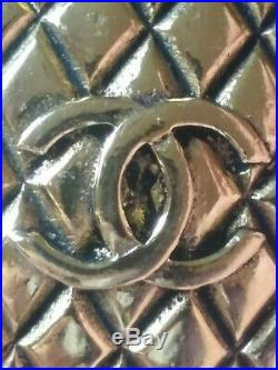 Authentic CHANEL CC LOGO GOLD QUILTED BROOCH PIN