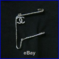 Authentic CHANEL CC Logo Crystal Silver Tone Pin Brooch Pin Box
