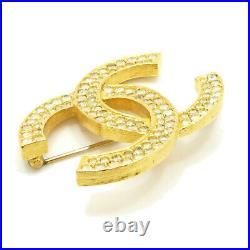 Authentic CHANEL CC Logo Pin Brooch Gold Tone 174 Metallic #S408119