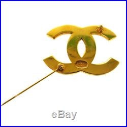 Authentic CHANEL CC Logos Brooch Pin Corsage Gold-Tone Accessories AK17362