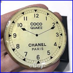 Authentic CHANEL Coco Quartz Round Clock Vip Gift Pin Brooch