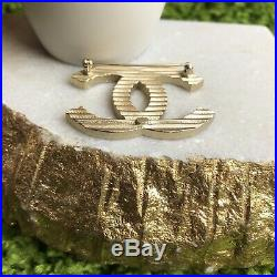 Authentic CHANEL Gold Plated Large CC Logo Brooch Pin Gold Royal Blue