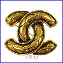Authentic CHANEL Vintage CC Logos Brooch Pin Gold Corsage Accessories AK33233i