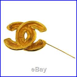 Authentic CHANEL Vintage CC Logos Brooch Pin Gold-Tone Corsage AK17018k