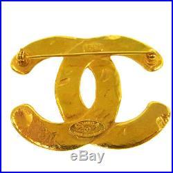 Authentic CHANEL Vintage CC Logos Brooch Pin Gold-Tone Corsage France AK26008e