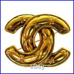 Authentic CHANEL Vintage CC Logos Brooch Pin Gold-Tone Corsage S07707g