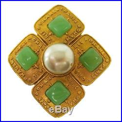 Authentic CHANEL Vintage CC Stone Brooch Pin Gold Corsage Accessories NR10467c