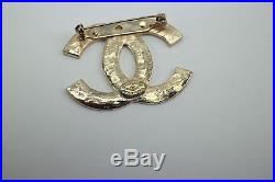 Authentic Chanel CC Black Enamel & Gold Tone Logo Pin / Brooch with Box