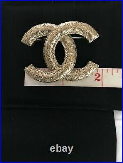 Authentic Chanel Classic Gold Tone CC Logo Metal Brooch Pin 20C