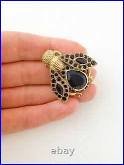 Authentic Christian Dior Boutique Vintage Gold Tone Bee Brooch Pin Black
