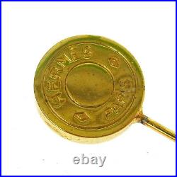 Authentic HERMES Vintage Selye Coin Brooch Pin Gold-Tone Accessories T02548a