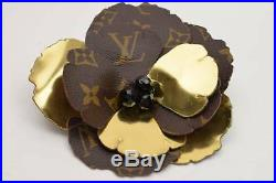 Authentic Louis Vuitton Brooch Pin Flower Corsage Monogram X Gold 72847