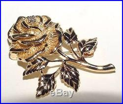 Authentic Tiffany & Co 14K Yellow Gold Diamond Rose Floral Pin Brooch Heavy 7.9G
