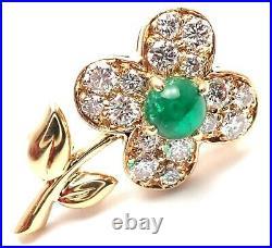 Authentic! Van Cleef & Arpels 18k Yellow Gold Diamond Emerald Flower Pin Brooch