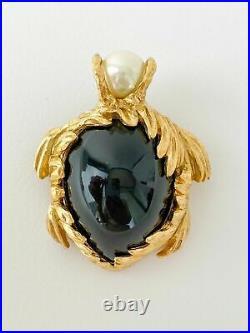 Authentic YVES SAINT LAURENT VINTAGE GOLD TONE TURTLE BROOCH PIN PENDANT BLACK