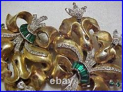 Awesome Large 1940 Coro Floral Gold Tone & Rhinestone Trembler Duette Pin/Brooch