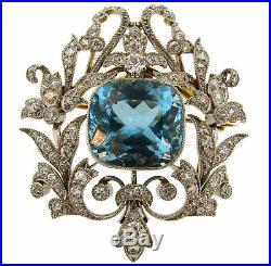 BLACK, STARR and FROST Aquamarine Diamond Platinum Gold PENDANT Pin BROOCH