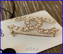 BNIB Authentic CHANEL Classic Crystal CC Logo Gold-Tone Metal Brooch Pin