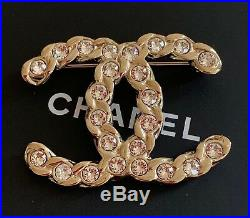 BNIB Authentic CHANEL Large Crystal CC Logo Pale Gold Tone Metal Brooch Pin