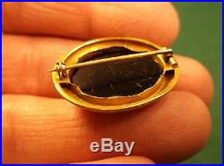 Beautiful Antique 18k Yellow Gold Victorian +/- Micromosaic Mourning Brooch Pin
