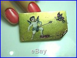 Breathtaking Victorian Enamel Cherub Angel Diamond Ruby Brooch / Pin 14k Gold