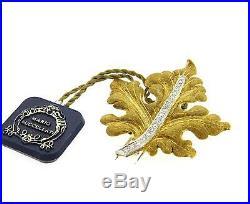 Buccellati Diamond 18k Yellow Gold Leaf Brooch Pin