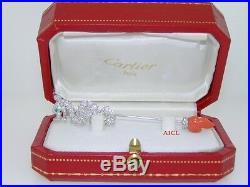 CARTIER LE BAISER DU DRAGON 18kWHITE GOLD DIAMOND EMERALD CORAL JABOT PIN BROOCH