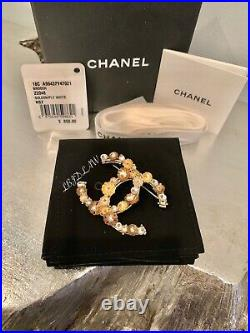 CHANEL 18C Gold Floral CC Brooch Jeweled Pearl Pin XL Camellia Flower NWT NEW
