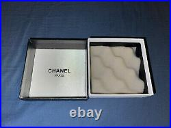 CHANEL Authentic Large All Crystal CC Logo Brooch Pin Silver Tone with Box