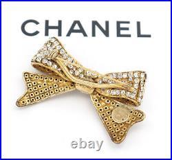 CHANEL Bow Ribbon Rhinestone Brooch Gold Tone Pin Vintage Crystal v1299