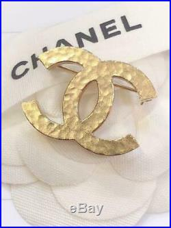 CHANEL Brooch Pin Badge Champagne Gold CC COCO Mark 07A authentic