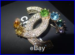 CHANEL CC Crystal Logo Brooch Pin