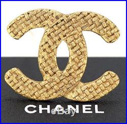 CHANEL CC Logo Mesh Brooch Gold Tone Pin withBOX #1258
