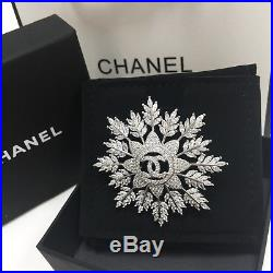 CHANEL CC Logo Sparkling Crystal 18k-white-gold Classic PIN BROOCH