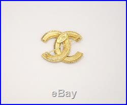 CHANEL CC Logo Vintage Brooch Gold Tone Pin withBOX #1694