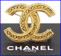 CHANEL CC Logo Vintage Brooch Gold Tone Pin withBOX #2344