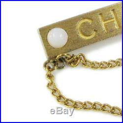 CHANEL CC Logos Charm Imitation Pearl Brooch Pin Corsage Gold 01A NR15151