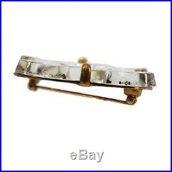 CHANEL CC Logos Clear Gold Pin Brooch 02 A Gold-Plated Vintage Authentic #II92 I