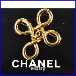 CHANEL CC Logos Loop Motif Gold Pin Brooch Gold-Plated Vintage Authentic #Z510 M