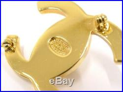 CHANEL CC Logos Turnlock Motif Gold Brooch Pin Corsage 96P Used Ex++