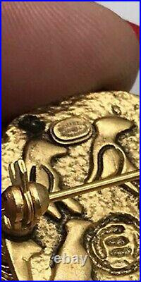 CHANEL CC Scarab Motif Gold Pin Brooch Gold-Plated France