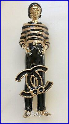 CHANEL COCO CC LOGO GOLD METAL BLACK ENAMEL FIGURINE BROOCH PIN 100th Years