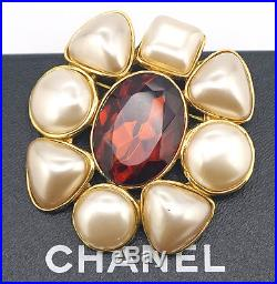 CHANEL Camellia Red Stone Pearl Brooch Gold Pin 26 withBOX #844