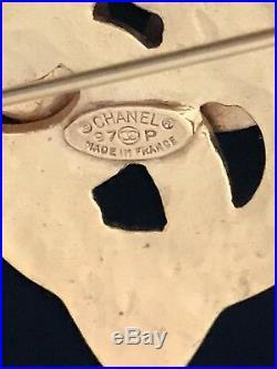 CHANEL Gold Toned CC Logos Cross Vintage Pin Brooch