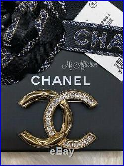 CHANEL NWT CC Gold Brilliant Sparkly Crystal Brooch Strass XL Rare Pin