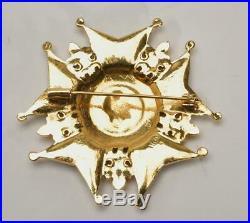 CHANEL Paris Vintage Black & Gold COCO Fleur de Lis Pendant Medallion Brooch Pin